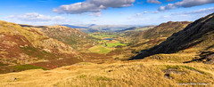 Little Langdale Panorama (MikeChet) Tags: england panorama fall landscape unitedkingdom wildlife lakedistrict places flowersplants wrynosepass littlelangdale littlelangdaletarn littlelangdalevalley