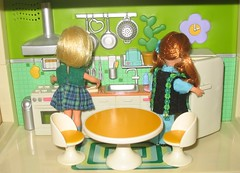 Heather and Libby are in the kitchen, (Rebecca's Collections) Tags: vintage hongkong plastic 1960s 116 fisherprice bluebox dollydarlings palitoy vintagedollshouse vintagedollshousedolls vintagedollshousefurniture