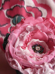 brooch (the incredible how (intermitten.t)) Tags: pink flower green rose brooch peony polyester diamente 14356 madethismorning tomatchmeisensilkscarf vintagekimonomeisensilk