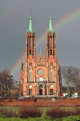 first rainbow in this year :) (green_lover (your COMMENTS are welcome!)) Tags: church rainbow żyrardów poland town hometown architecture history thechallengefactory redbrick