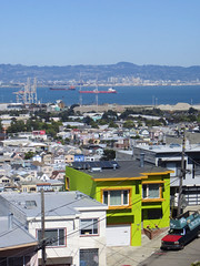 Bayview Hunters Point (danieljsf) Tags: sanfrancisco house color green home bay boat ship hill cargo hintofcolor