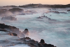 Mystic Sunset (STEFFEN EGLY) Tags: ocean light sunset sea landscape golden exposure waves sonnenuntergang windy cliffs morocco landschaft marokko felsen wellen langzeitbelichtung longtime essouira langebelichtung windig greyfilter graufilter longexposzure