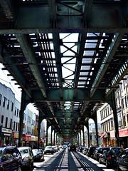 The elevated train tracks on Myrtle Avenue, Queens, New York ... destination Manhattan. (Paul Anthony Moore) Tags: newyork queens ltrain elevatedtrain ridgewood myrtleavenue