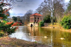 The Italian Bridge and boathouse (Shertila Tony) Tags: park england lake cold weather gate europe day arch cloudy britain entrance birkenhead boathouse hdr wirral merseyside wayin birkenheadpark italianbridge mygearandme bestevercompetitiongroup