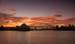 Sydney (Kokkai Ng) Tags: city travel bridge sunset sea sky orange cloud house black tourism water silhouette horizontal clouds dark harbor twilight chair opera purple harbour dusk sydney australia financialdistrict nsw newsouthwales copyspace operahouse mrs sydneyharbour sydneyoperahouse sydneyharbourbridge sydneyaustralia urbanscene placeofinterest internationallandmark macquaries