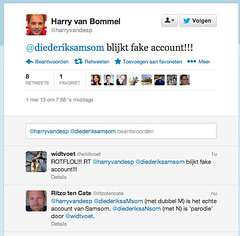 Verwarring bij @harryvandesp over fake account '@diederiksaNsom' (met N) (ritzotencate) Tags: satire fake account parodie twitter harryvanbommel widtvoedt