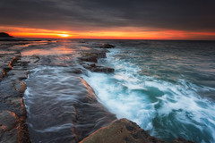 Merewether Ledge 20130504 (Trevor Tutt) Tags: ocean sun seascape water clouds sunrise canon newcastle flow waterfall rocks waves trevor lee baths newsouthwales filters merewether tutt rockshelf 5dmarkiii