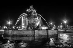 Place de la Concorde (GencivedeTruie) Tags: city longexposure blackandwhite paris france fountain wheel night place noiretblanc streetphotography concorde fontaine placedelaconcorde