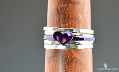 This #ring is #handm (alaridesign) Tags: this ring is handmade from hammered sterling silver wire with 5 by 7mm heart has shiny violet purple nanoceramic coating over c alari alaridesign bffring initialheartring initialring jewelry personalizedring purpleheartring purplering stackingring sterlingsilver valentinesday violetring violetsilver