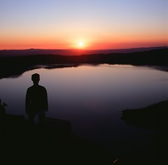 Film: Fuji Velvia during sunrise on Crater Lake (sbadger91) Tags: fuji fujivelvia velvia velvia100 yashicad tlr 6x6 film filmisnotdead mediumformat sbadger91 craterlake oregon nature nationalpark sunrise