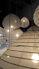 Lanterns (iainwalker) Tags: lantern light collingwood samsunggalaxys4 black lightbulb cable melbourneindesign display hubfurniture suspended indoor gallery 2016 cambridgestreet jamesmakingallery patterns fabric ceiling