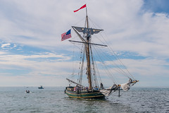 Sloop 'Friends Good Will' on lake Michigan (Lena and Igor) Tags: sloop friends good will lake michigan us usa sailboat boat flag clouds dslr nikon d810 sigma 1770 telephoto zoom travel