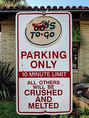 Parking At Your Own Risk (Thad Zajdowicz) Tags: sign signboard text writing letters words type outdoor outside monrovia california 366 365 zajdowicz cellphone availablelight photoshopexpress humor motorola droid turbo smartphone cameraphone android mobile