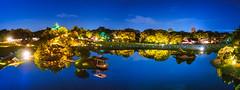 PhoTones Works #8075 (TAKUMA KIMURA) Tags: photones olympus penf takuma kimura   landscape scenery nature castle night scene okayama japan korakuen fantasy garden summer pond light up