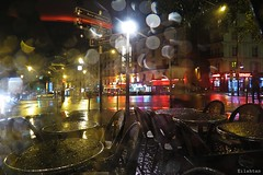 Rainy night in Paris (nathaliedunaigre) Tags: rain pluie night nuit paris pigalle lights lumires quartier tables bar gouttes drops couleurs colors brillant brillance