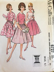 6727 (mrogers1@uw.edu) Tags: dress jacket 1960s vintage sewing patterns mccalls 1963 juniors dresses jackets full skirts gathers sleeveless oval neckline contrast kimono sleeves collarless collar cuffs elbowlength belts