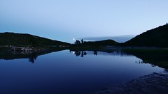 Reflejos en un lago de Keiservarden (PhotoSebastian) Tags: bodo norway noruega bodoe mountain trekking hiking nightfall sunset reflections moon tree longexposure