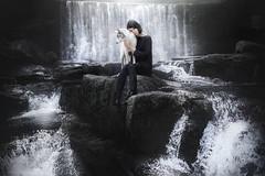 Self Portrait with Ciri (Alicja Zmysowska) Tags: dog dogs waterfall waterfalls border collie people portrait darkness