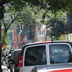 Tunnel Vision (NEXtographer) Tags: trees bigapple street newyorkcity emount walking sony cars signs outdoor outdoors