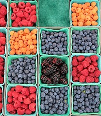 Farmers Market (Robert Borden) Tags: blueberry raspberry blue red orange fruite market farmer farmersmarket lacaadaflintridge california socal west westcoast pasadena colors canon stilllife blackberry