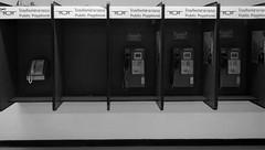 Dark Days Ahead for TOT  Public Payphones (Mark Obusan) Tags: obsolete payphone bangkok donmueang airport vtbd bkk extinct extinction tot telecomofthailand  public thailand darkdays bw