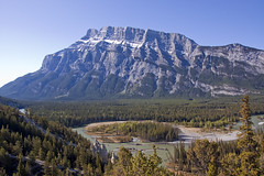 Mount Rundle (LunaticDesire) Tags: canada canadian ca northamerica north america western westerncanada therockymountains rockymountains rocky mountains moosetravel travel traveling exterior photography nikon d40 dslr 18105 may 2016 spring mount rundle mountrundle banff alberta ab mountain bow river water landscape mountainscape waterscape trees bend nature wild wilderness