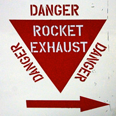Exhaust (BR0WSER) Tags: 2016 bluesteel raf military weapon nuclear scampton sign notice warning danger vulcan text stencil red white