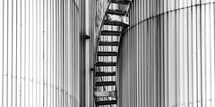 Stairs BW 2:1 (Traveller_40) Tags: stairs bw monochrome stair blackandwhite noieetblanc steel construction steepstair minimaliminimalismus reduced focused basic industrialdesign