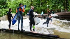 River surfing in Munich (Sucherauge) Tags: eisbach river surfing surfer surfboard wave munich water board