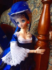 Ribbons Down My Back (Historical.Dreams) Tags: curls fur doll anime lace rococo ddh06 ribbon hat blue dream dollfie