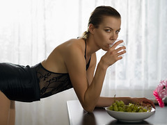 A thirst (Bruce M Walker) Tags: grapes breakfast drink water lingerie woman backlight backlit shorthair kitchen