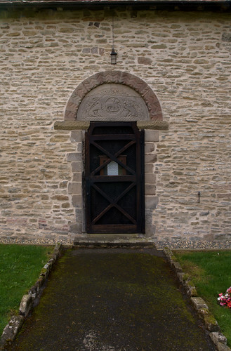 Pipe Aston, Herefordshire, St. Giles's church, north door, tympanum