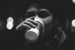 Starbucks (drewrios) Tags: white chicago black hot film coffee girl field canon dark toys illinois bokeh great drinking minimal il starbucks cocoa depth bnw 2012 60d