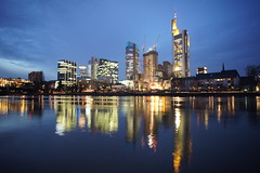 Frankfurt am Main Night Skyline (barnyz) Tags: city urban reflection building tower skyline architecture night skyscraper river germany lights am cityscape frankfurt sony main bank cranes 16mm frankfurtammain commerzbank hesse eurotower nex3