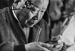 An old watchmaker 2 (Jie Wang SH) Tags: china leica old man film zeiss shanghai chinese watchmaker ilfordhp5400 summicron502 zeissikonzm