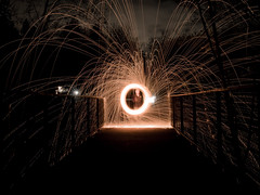 you shall not pass (jorin.arriola) Tags: seattle longexposure bridge light night dark fun lumix fire washington long exposure bright panasonic trail 20mm bothell steelwool iso160 newideas gx1 40secs lbeckons jorinarriola