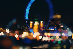 London Calling ([~Bryan~]) Tags: uk london westminster night 50mm glasses focus colours bokeh doubleexposure londoneye bigben londoncalling