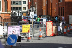 Banners and placards  at the Ecuadorian Embassy (Ian Press Photography) Tags: signs london sign ecuador julian banner protest police embassy banners met protester protesters placard wiki leaks ecuadorian policing wikileaks assange