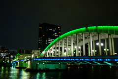Night at Kachidoki bashi (HAMACHI!) Tags: bridge japan night river tokyo spring waterfront illumination ligth fujifilm kachidoki kachidokibashi 2013 kachidokibridge x100s fujifilmx100s