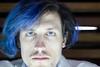 Blue and White (DerekSteen) Tags: california face santamonica moustache bluehair santamonicaplace djsteen dereksteen