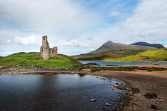 Advreck Castle (Philipp Klinger Photography) Tags: uk greatbritain blue light shadow sky cloud mountain lake mountains green castle nature water grass rock clouds reflections landscape scotland highlands nikon ruins rocks angle unitedkingdom britain united hill great wide ruin kingdom wideangle hills highland gb loch sutherland philipp sco ruined schottland d800 ardvreck assynt klinger ardvreckcastle lochassynt inchnadamph dcdead nikond800