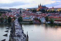 Sunset over Charles (Alan Dreamworks) Tags: sunset skyline river europe cityscape czech prague gothic praha bridget czechrepublic        oldtownbridgetower  cityscrape  nikond3 flickrunitedaward flickrtravelaward charlesbridget alandreamworks