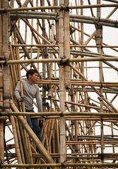 through a bamboo (Zvetkova) Tags: china travel man travelling nikon asia southeastasia view chinese tourist bamboo scaffold worker d200 macau vacations builder falsework 2013 macaupeninsula