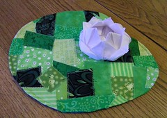 Lotus Flower Mug Rug (waggonswest) Tags: green pond origami quilt lotus patchwork lilypad craftster artquilt mugrug