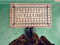 Welcome. (Door_een) Tags: face easter print carpet day boots random no patterns tribal funfun welcome wo skirts kinda selfie combatboots blackonblackonblack