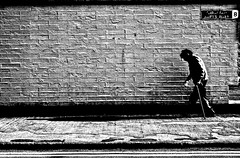 Swift (Michael Barry 2012) Tags: shadow blackandwhite dublin brick wall oldman walkingstick swift liberties grotty dublin8