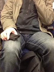 Photo-339 (SubTrain Ian) Tags: man london tube crotch jeans bulge