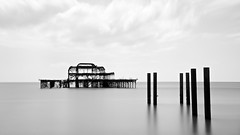 """Broken Pier 128"""" (Paul Gregory """"Monki"""") Tags: longexposure sea blackandwhite beach pier seaside westpier englishchannel birghton weldingglass neutraldensity canonefs1585mm canon60d"""