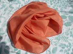 Madder on Silk (milkweed seed) Tags: orange silk madder naturaldye plantdyed plantdye madderroot