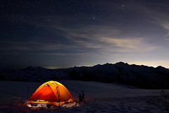 Meslilloet and the Tent (Christopher J. Morley) Tags: camping light mountain lake snow canada beautiful night vancouver painting stars snowshoe lights spring nikon glow bc columbia tent hike illuminated ridge explore area british headlamp pinecone wanderung d600 2013 meslilloet